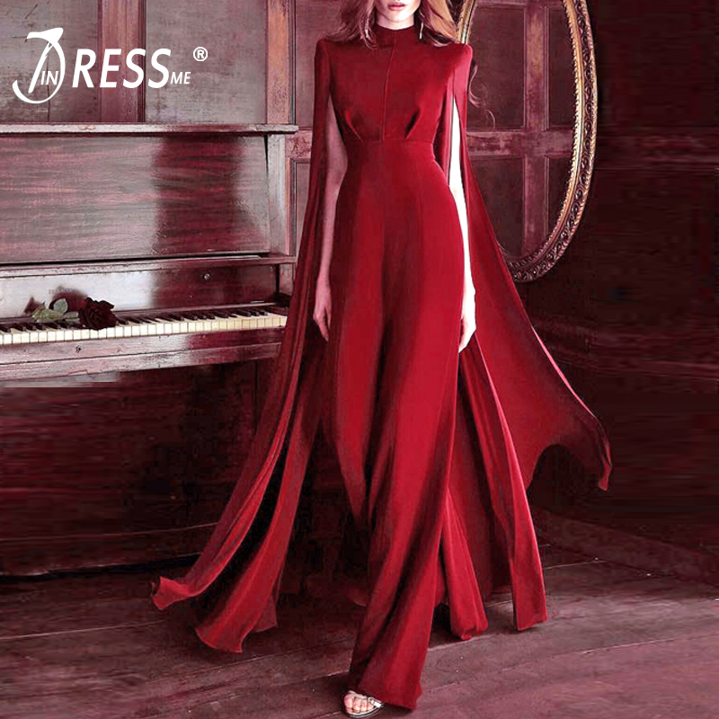 INDRESSME Women Bodycon Autumn   Jumpsuit   O-Neck Batwing Sleeve   Jumpsuit   Luxury Celebrity Party Club Vestidos 2018 New With Belt
