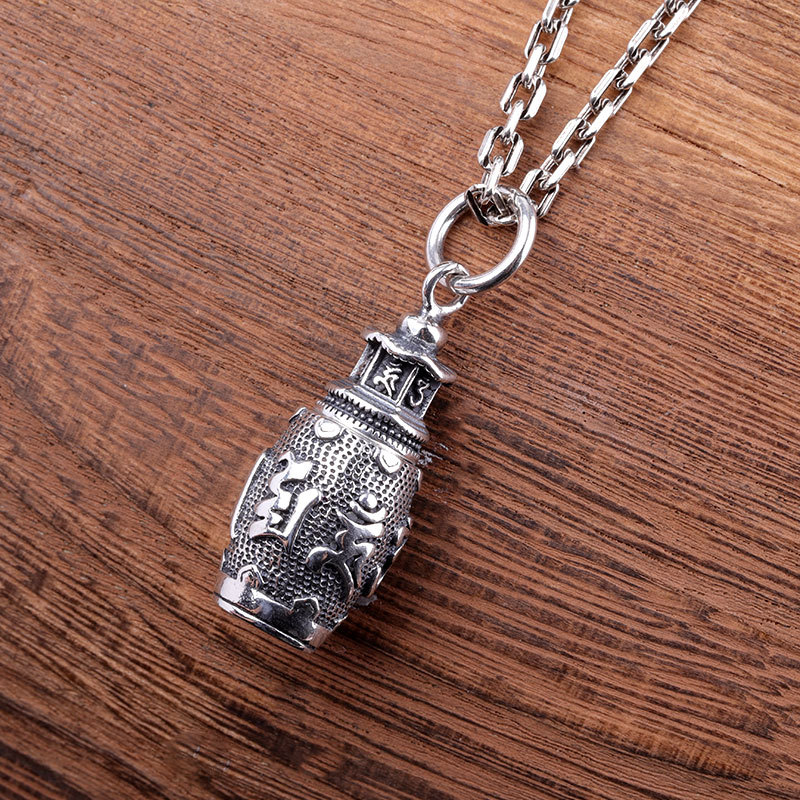 Real 925 Sterling Silver Pendant Amulet Box Om-Mani-Padme-Hum