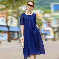 2018 Women's European Brand Large size Real Silk Linen dress sequins beaded short sleeved summer Long Dress For Female