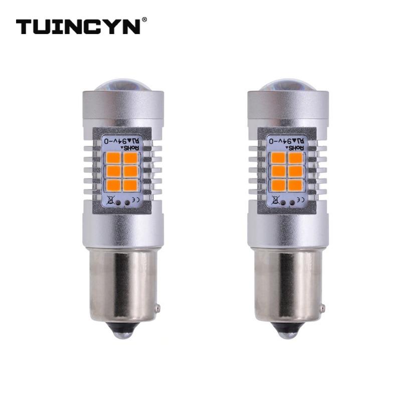 TUINCYN 2pcs LED Signal Light BAU15S 2835 21SMD 80W High Power 12V Lens Turn Signal Back Up Reverse Tail Brake LED Light