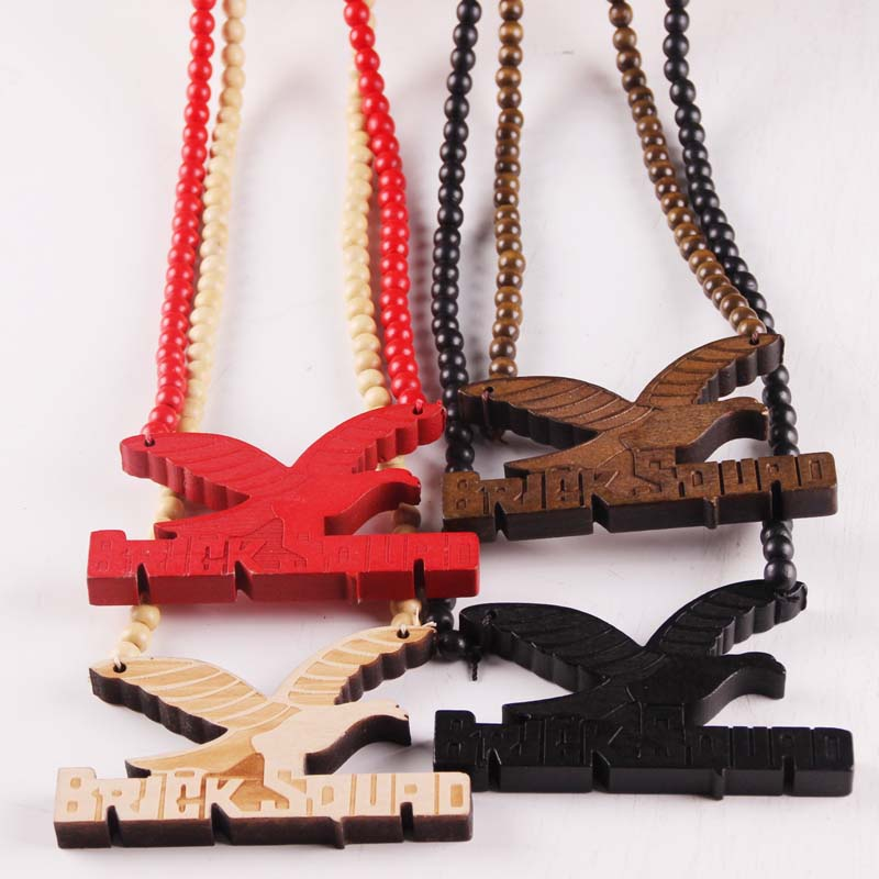 Brick Squad Pendant Good Wood Hip-Hop Fashion Necklace Wholesale 4 colors Mixed Jasw142 ...