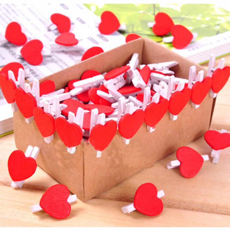 1 sztuk Mini serce miłość drewniane ubrania papier fotograficzny Peg klamerka Craft żywności papier pocztówkowy klipy Home dekoracja rzemieślnicza