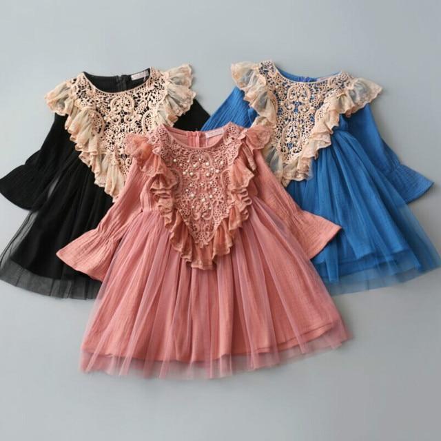 a266dc8d347b 3 10Y Baby Girls Kids Tutu Crochet Lace Dress Long Sleeve Princess ...