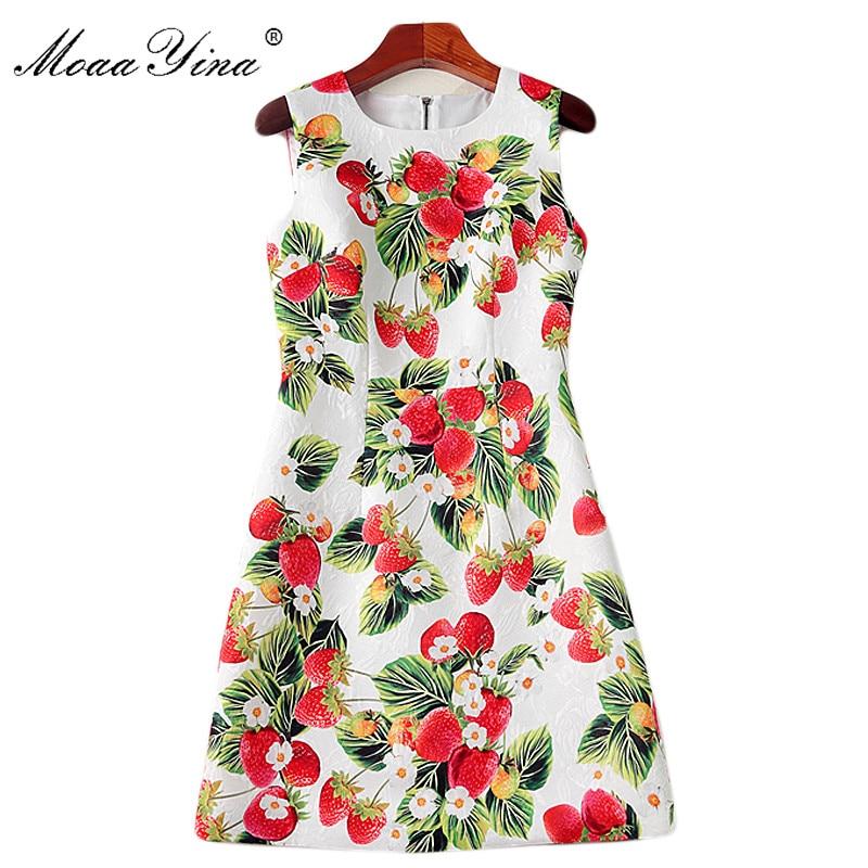 MoaaYina Fashion Runway Summer Strawberry Printed Slim Mini Dress Women s High Quality Jacquard Elegant Party