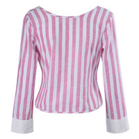 Sexy Women Bowknot Backless Striped Blouse Long Sleeve O-neck Bandage Blouses Shirt Tops JL