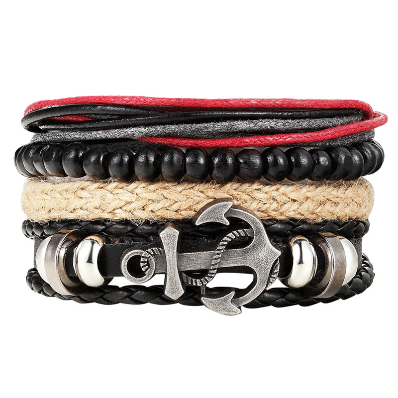 Fashion 1 Set 4PCS Men s anchor bracelet multi layer leather bracelet women s retro bead