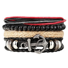 Fashion 1 Set 4PCS Men s anchor bracelet multi layer leather bracelet women s retro bead