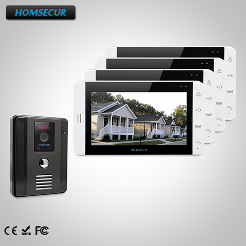 HOMSECUR 7 Wired Video&Audio Home Intercom with Black Camera for Apartment 1C4M: TC011-B Camera (Black)+TM703-W Monitor (White)