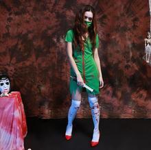 Nurse ghost Green Costume for font b women b font Halloween canival dress zombie Scarey font