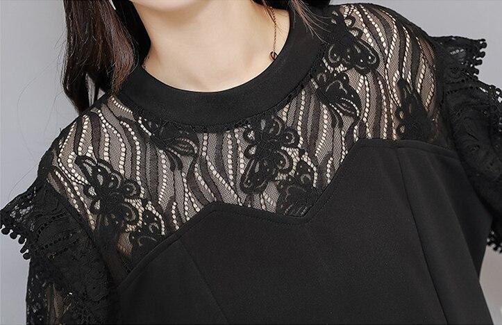 Xl-5xl Plus Size Black Lace Two Piece Women Sets Flare Sleeve Tunic Tops+pants Trousers Sets Suits Office Elegant Women's Sets 33