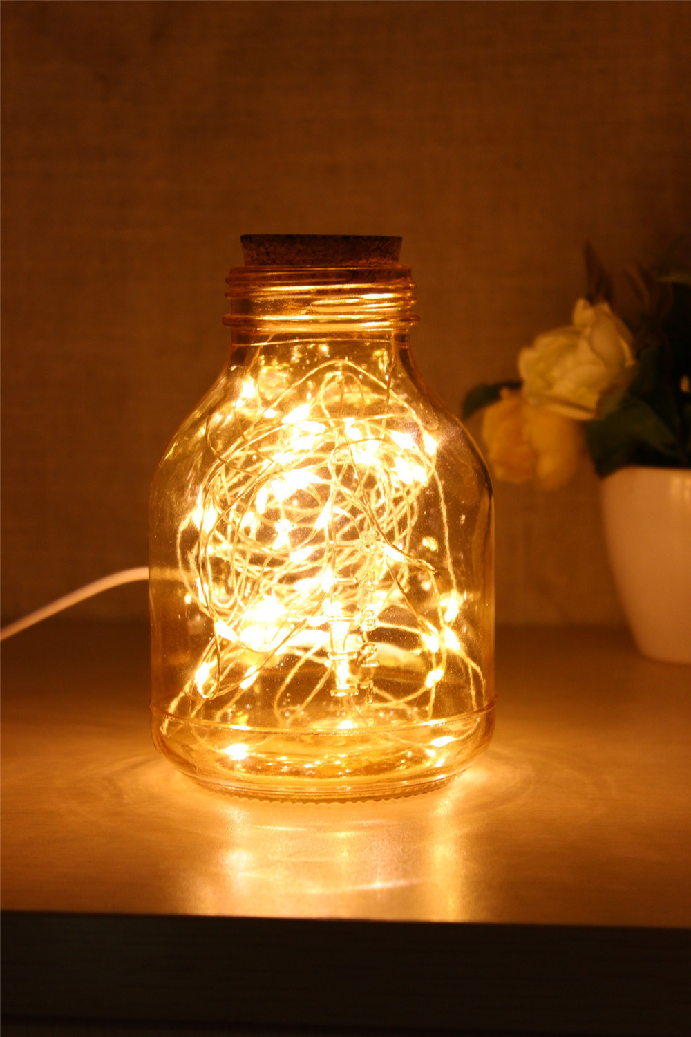 Starry sky glass bottles with led lamp wishing bottle for Bedroom night light