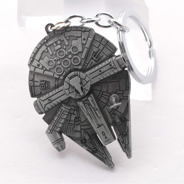 Drop shipping Movie Star Wars Spaceship Logo Metal Pendant Key Chain keyring for fans Keychain men Gift