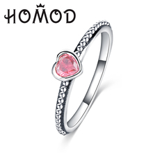 HOMOD 3 Colors Authentic Silver Color Ring Love Heart Brand Original Wedding Jewelry Gift For Mother Dropshipping