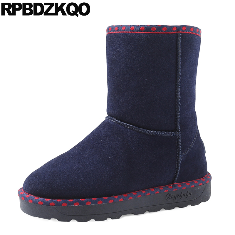 Height Increasing Blue Women Boots Winter 2017 Shoes Suede Round Toe Casual Increased Fur Snow Ankle Flat Fashion New Short front lace up casual ankle boots autumn vintage brown new booties flat genuine leather suede shoes round toe fall female fashion