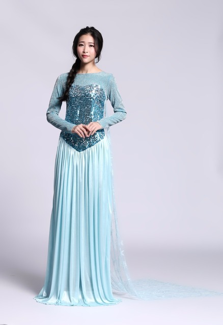 2016 princess anna elsa princess dress princess elsa costume adult snow grow princess elsa halloween women  sc 1 st  AliExpress.com & 2016 princess anna elsa princess dress princess elsa costume adult ...