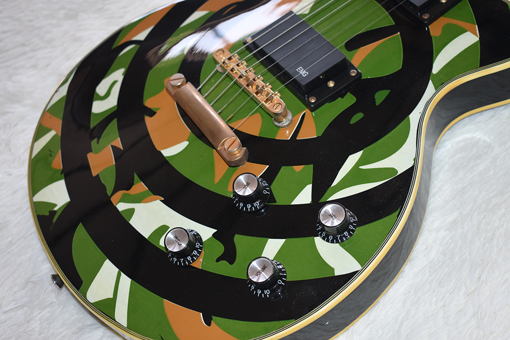 Factory Custom Electric Guitar with Camo Pattern,Gold Hardware,Block White Pearl Frets Inlay,High Quality,Can be Customized