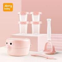 Jerrybaby Food Mill Bowl Set Food Storage Fruit Grinding DIY Food Masher Bowl Vegetable Juicer Food supplement for Baby