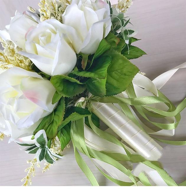 2019 New Arrival Bridal Bouquets Women Wedding Artificial Flower Bouquet Off White 20*20 Cm Handmade Flowers for Bridesmaid Bridal Bouquets Wedding Accessories Item Type: Wedding Bouquet