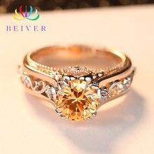 Beiver романтическое декоративное кольцо с узором из розового золота высокое качество AAA+ Шампанский кубик циркония обручение подарок для женщин