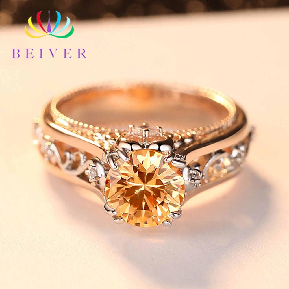 Beiver โรแมนติกตกแต่งรูปแบบ Rose Gold แหวนคุณภาพสูง AAA + แชมเปญ Cubic Zirconia หมั้นของขวัญผู้หญิง