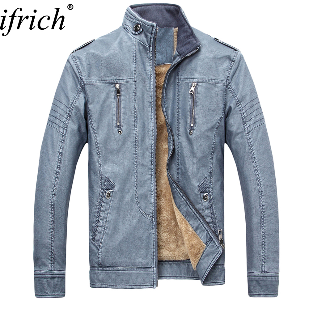 Hot Sales New PU Leather Jacket Men Blue Brown Solid Mens Faux Fur Coats Trend Slim Fit Youth Motorcycle Top Quality Jacket