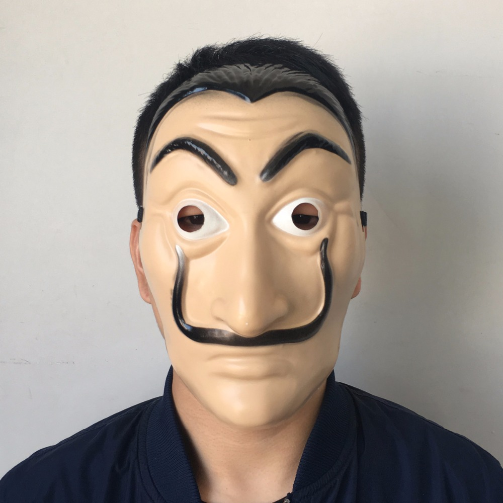 Salvador Dali Masks 2018 Hot Sale La Casa De Papel Clown Face Cosplay ABS Masks Halloween Party Masquerade Props1
