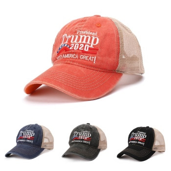 Baseball Cap Washed Embroidered Mesh Hat Headwear Unisex Casual Streewear Donald Trump 2020 US Election Campaign Baseball Cap