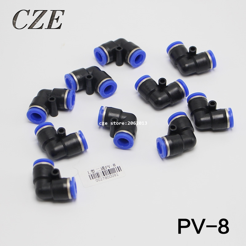 10pcs/lot PV-8 Quick Joint Pneumatic Tube Air Fitting Plastic Union Elbow L Connector Pipe Hose Push In One Touch  PV5/16 12mm x 10mm t joint plastic one touch tube connector quick coupler