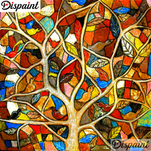 Dispaint Full Square/Round Drill 5D DIY Diamond Painting Oil painting tree Embroidery Cross Stitch 3D Home Decor A10622
