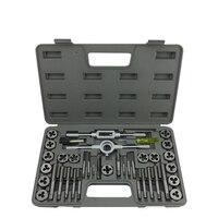 40pcs Inch Taps Die Set Screw Tap Holder Thread Gauge Wrench Set Threading Tool