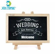 20*30cm tablica drewno z sztalugą tablica ślub Pizarra drewniana rama łatwe wymazywanie tablica do pisania wiadomości czarne tablice