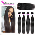 7A Brazilian Virgin Hair With Closure 4 Bundles Weave Brazilian Straight Hair With Closure Brazilian Lace Closure With Bundles