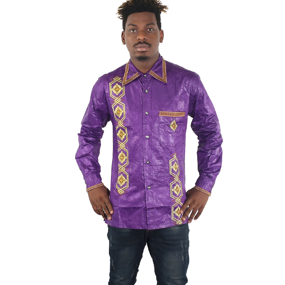 MD African Men Clothes Embroidery Dashiki Shirts Long Sleeve Tops 2019 Bazin African Print T Shirt Traditional Fashion Clothing