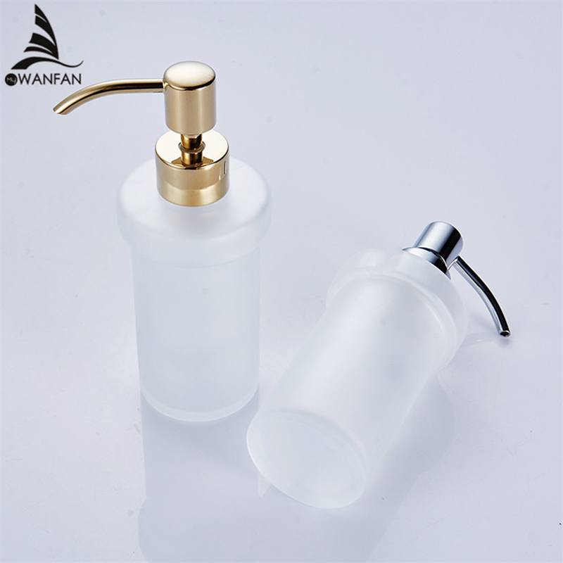 200ml Liquid Soap Dispensers Frosted Glass Brass Head Toilet Shower Dispenser Bottles Hotel Bathroom Soap Dispenser 9058