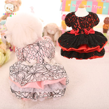 Lovely Floral Lace Pet Dress Vestidos For Small Dogs Princess Dog Dress Luxury Wedding Dress Summer Pet Dog Clothes Pink/Black