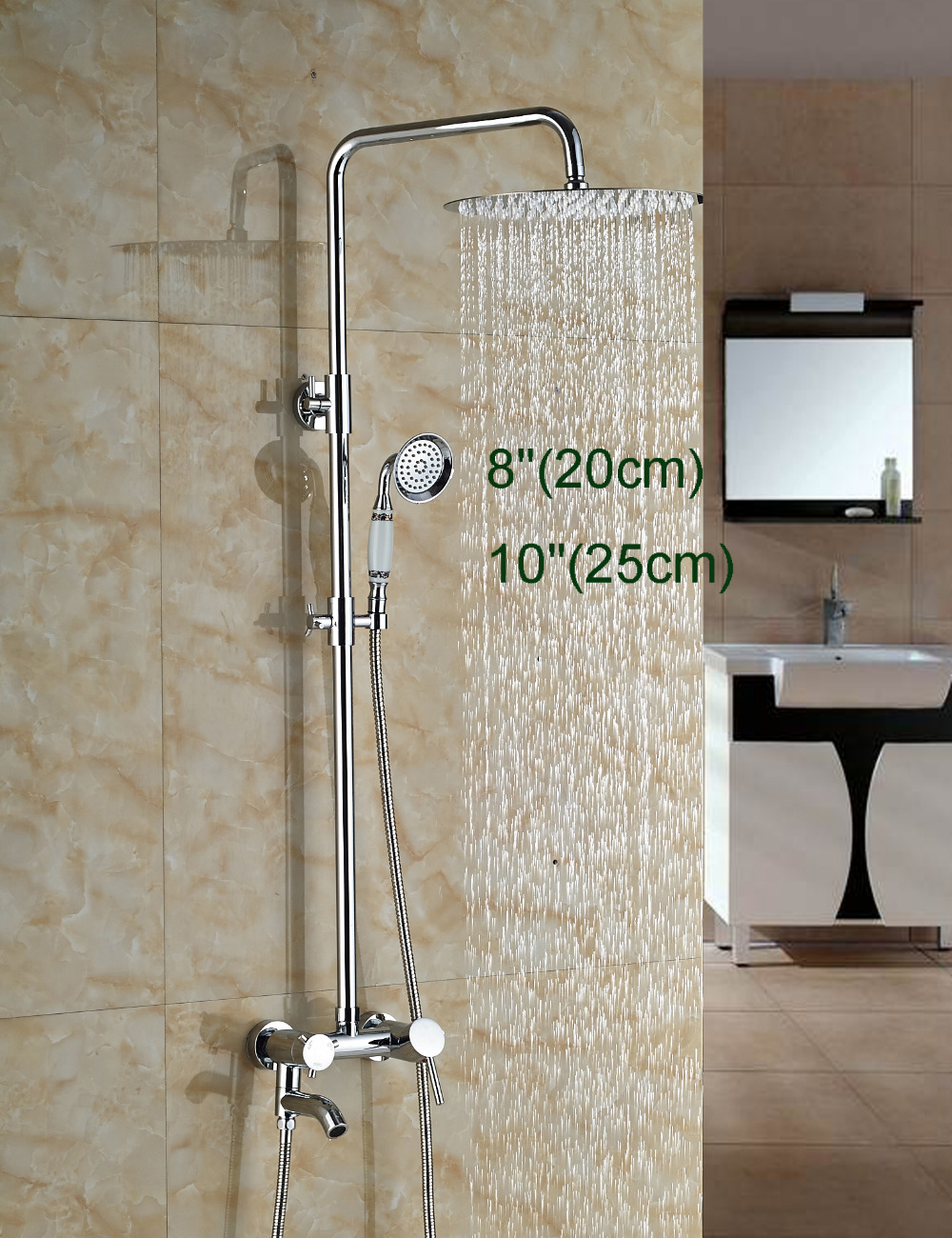 Wholesale And Retail Manufactory Sell Wall Mounted Shower Faucet Ultrathin Round Shower Head Tub Spout Valve Mixer Tap Hand Unit wholesale and retail wall mounted thermostatic valve mixer tap shower faucet 8 sprayer hand shower