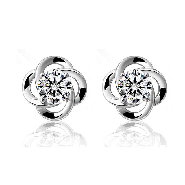 Jemmin Elegant Fashion 925 Sterling Silver Stud Earring AAA Grade CZ Crystal Flower Earrings Gift Jewelry For Woman Girl Jewelry