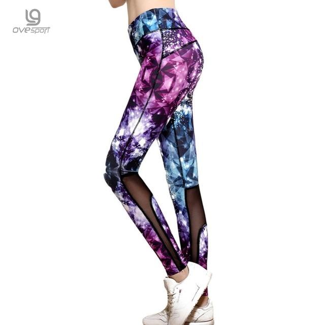 Sexy Women Sporting Leggings 3D Purple Diamond Printing Slim Pants Elasticity Jeggings