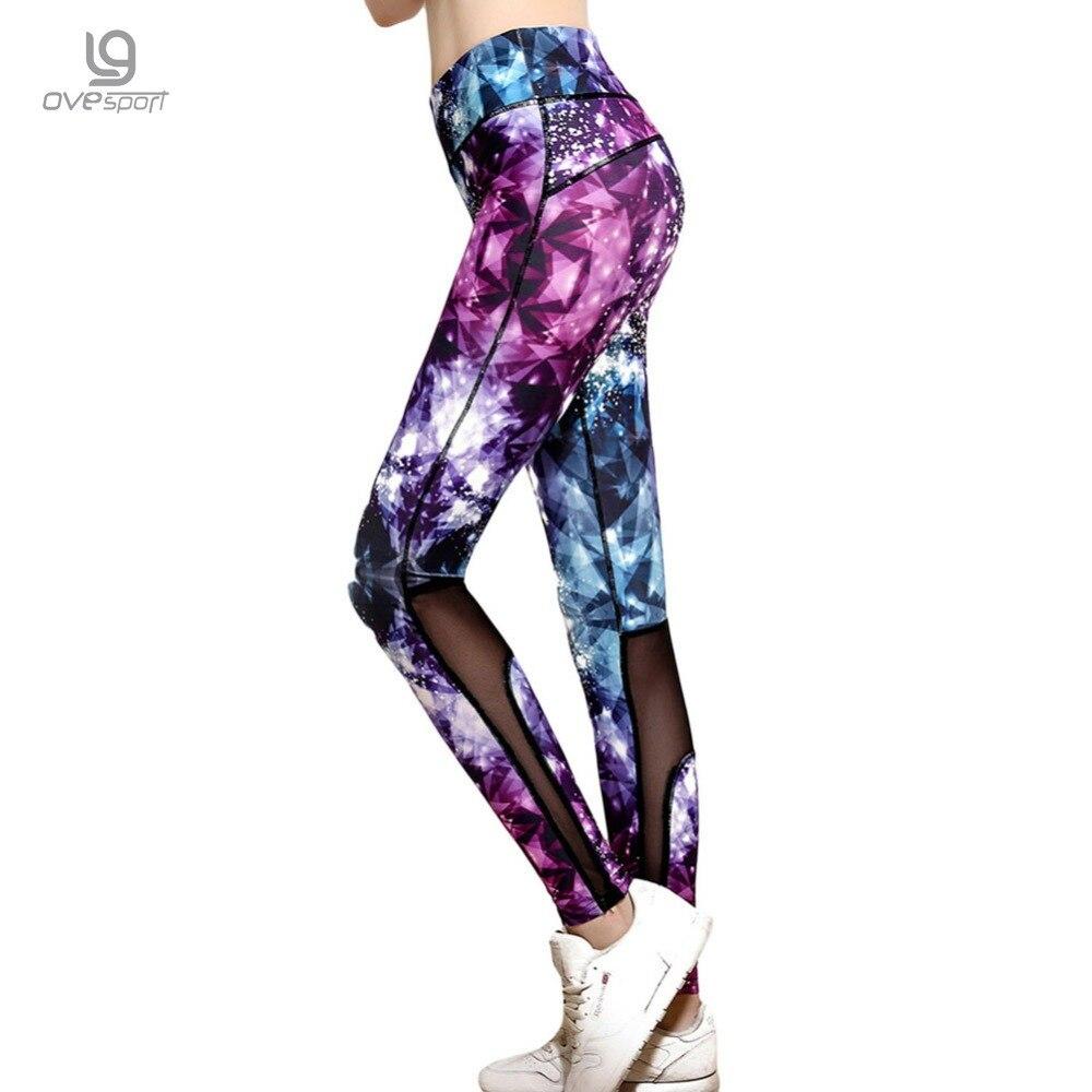 2017 Sexy Women Sporting Leggings Fitness Workout Trousers 3D Purple Diamond Printing Slim Pants Elasticity Leggings