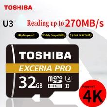 TOSHIBA-tarjeta de memoria M501 EXCERIA PRO U3 TF 32GB SDHC 64GB SDXC UHS-II Class10 U3 4K HD, velocidad de lectura de hasta 270 MB/s, tarjeta tf