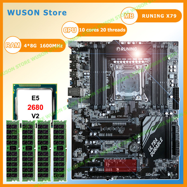 US $680 0  Runing Super X79 motherboard with 8 RAM slots 7 PCI E slots CPU  Intel Xeon E5 2680 V2 SR1A6 2 8GHz RAM 4*8G 1600MHz DDR3 RECC-in