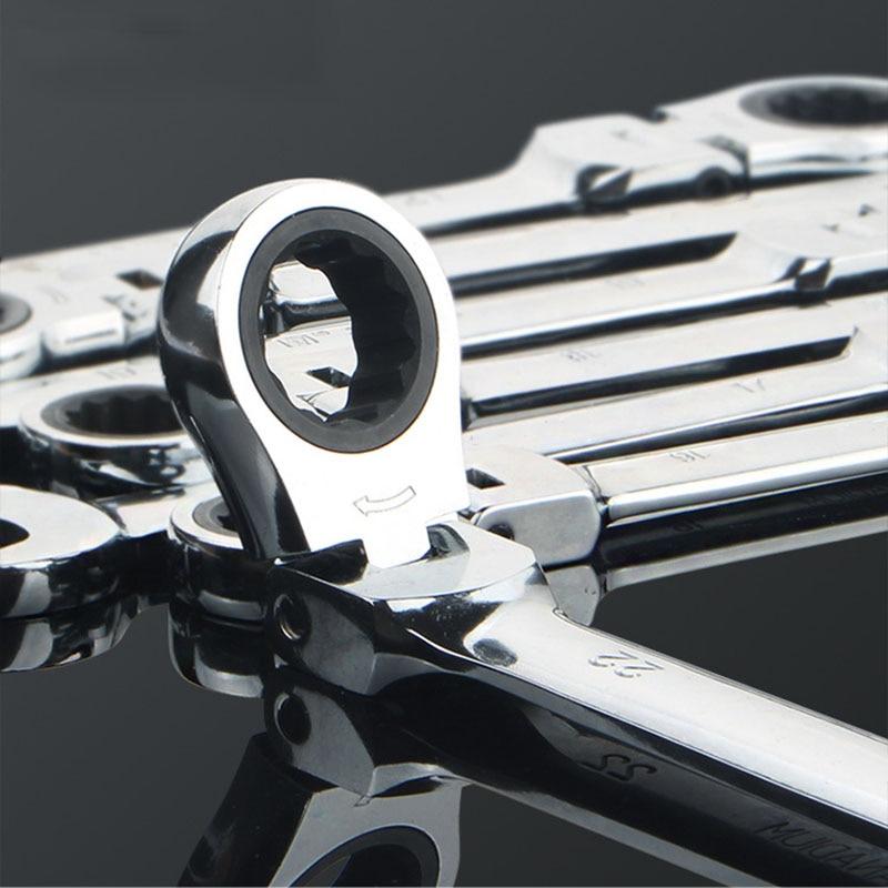 Купить с кэшбэком 7PCS/set Flexible Ratchet Spanner Combination wrench set ratchet handle tool ratchet skate tools Plastic frame spanner set