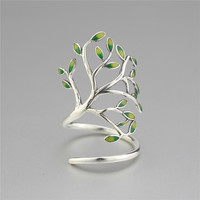 925 Sterling Silver Drop Glaze Leaves Open Rings For Women Original Handmade Lady Prevent Allergy Sterling