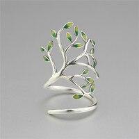 925 Sterling Silver Drop Glaze Leaves Open Rings For Women Original Handmade Lady Prevent Allergy Sterling