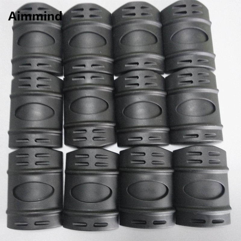 Black 12 PC Universal 20mm Weaver Picatinny Rubber Rail Covers Hand Guard