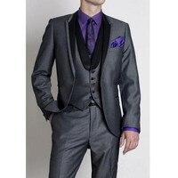 Индивидуальный заказ черный Для мужчин костюмы дружки смокинги Для мужчин Нарядные Костюмы для свадьбы best Пром ужин вечерние костюм (куртк