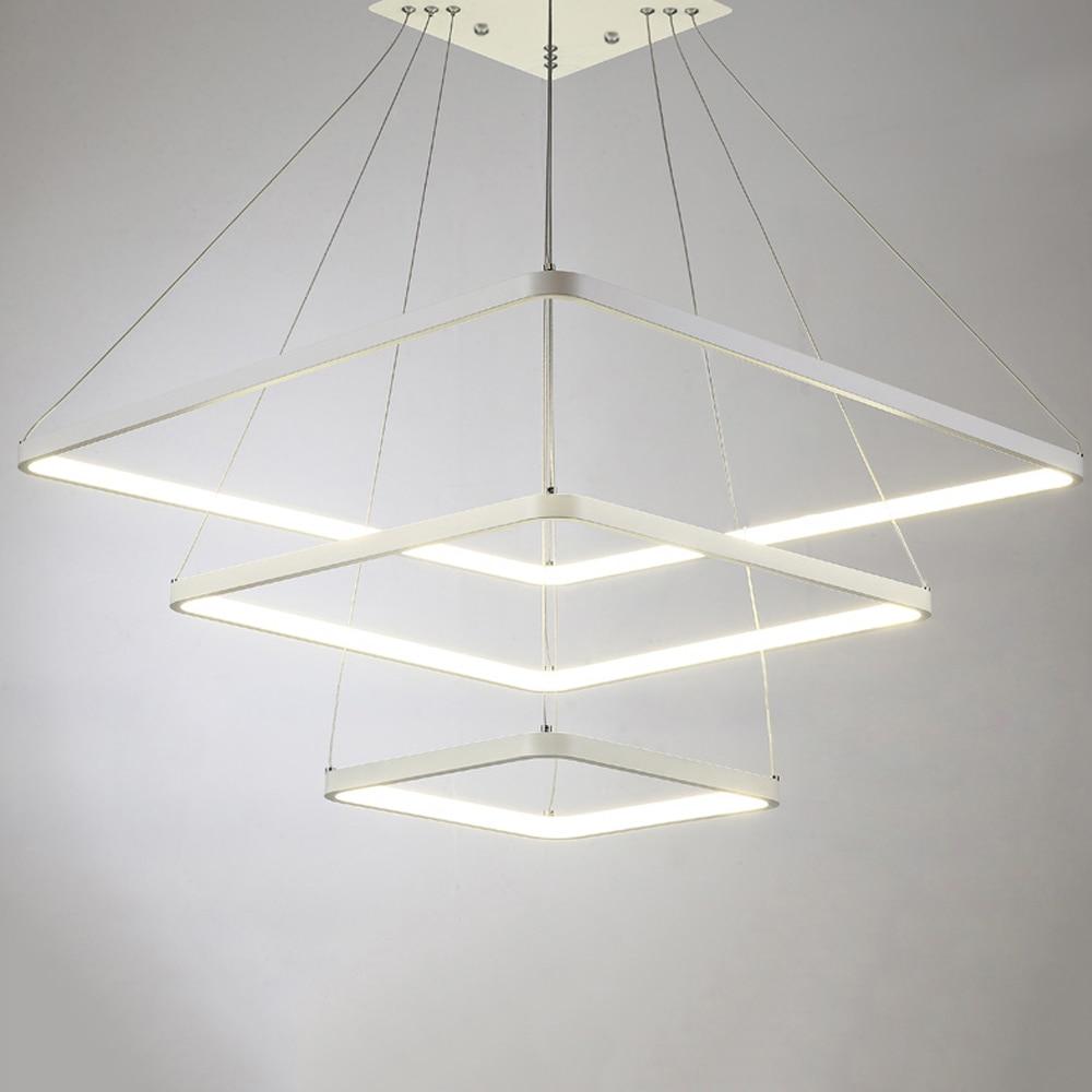 Moderne Led Lustre éclairage Carré Lustre Blanc Lustres Par Sala