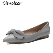 Bimolter Genuine Leather Women Bow Tie Designer Flats Shoes Pointed toe 1cm Heel Casual Sweet Handmade Quality NB044