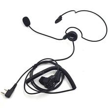 XQF auriculares con micrófono de PTT 2 pines Para Kenwood Baofeng, UV 5R de Radio portátil, BF 888S, UV5R, GT 3, UV B5, B6