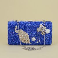 Royal Blue New Evening Bags Women Day Clutches Fashion Style Peacock Design Wedding Shoulder Bag High Quality Day Clutch